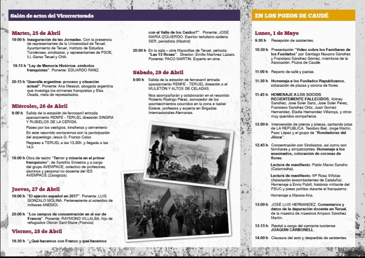 programa XIII Jornadas Memoria Histórica