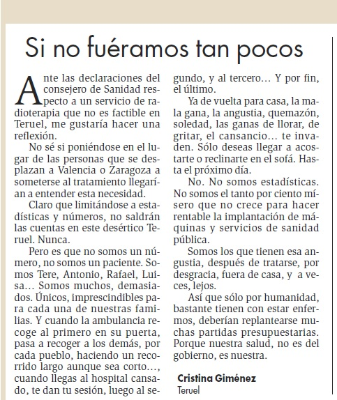 Carta Cristina G. Radioterapia Teruel