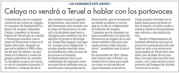 celaya no vendrá a Teruel DdT 17 de marzo