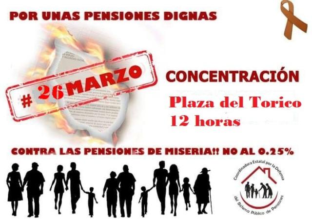 Concentración Pensiones Teruel, lunes 26 de marzo