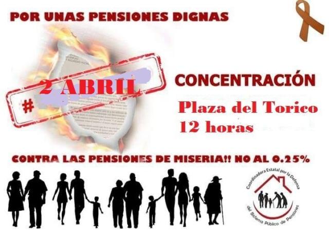 Concentración pensionistas 2 de abril Teruel