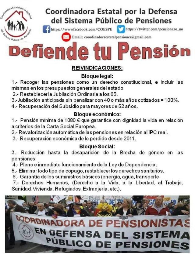 tabla reivindicativa coordinadora de pensionistas