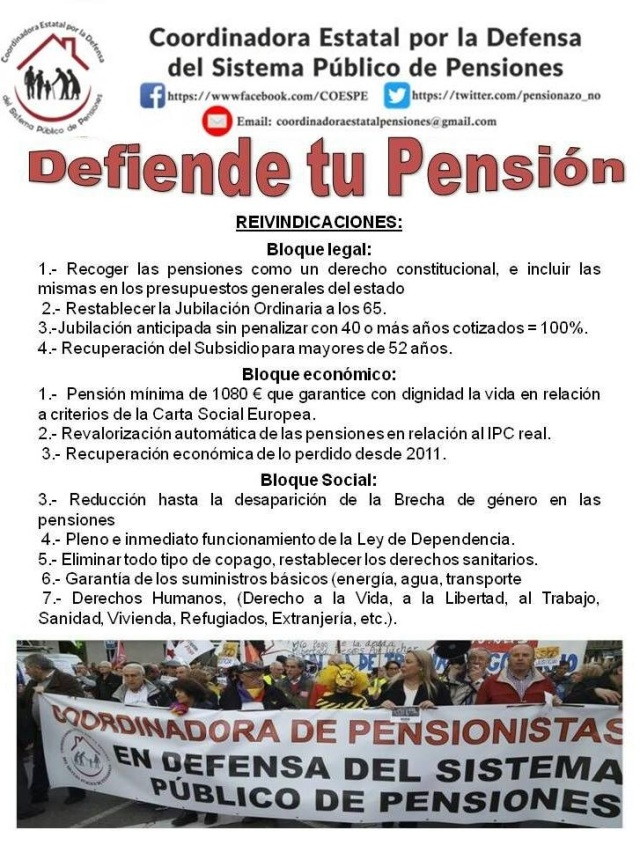 tabla reivindicativa coordinadora de pensionistas