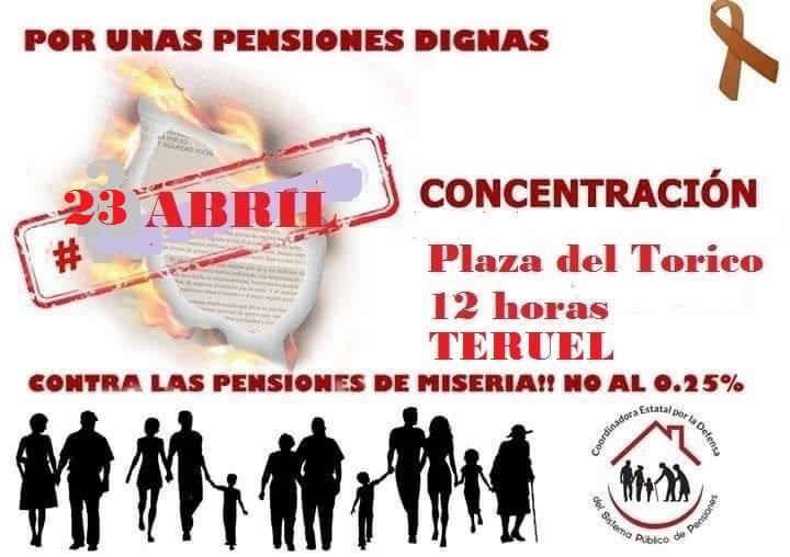 Concentración 23 de abril pensiones Teruel