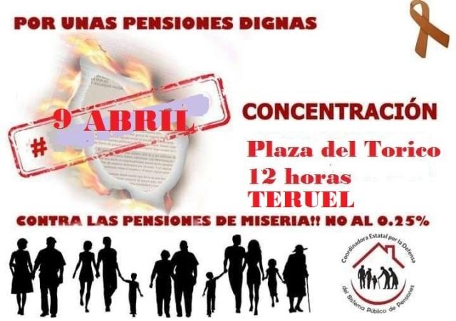 Concentración pensionistas 9 de abril Teruel