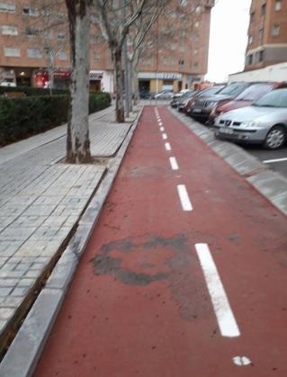 Levantamiento lechada carril bici ensanche