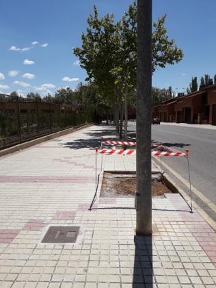 El árbol llevaba años ya talado, en estos momentos se ha quitado la tocona y se ha vaciado lo sufiente para embaldosar el Alcorquce. 16 de mayo de 2018 Calle Los Olivos