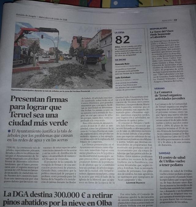 Heraldo Aragón asociación plantas 6 de junio 2018 pág. 23