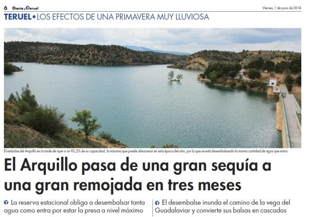 Reserva agua embalse El Arquillo de San Blas DdT 1 de junio 2018